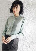 PIXY 100% тяжелые шелковые белые блузки женские красные рубашки с длинными рукавами мятно Зеленые офисные женские топы корейская модная одежда