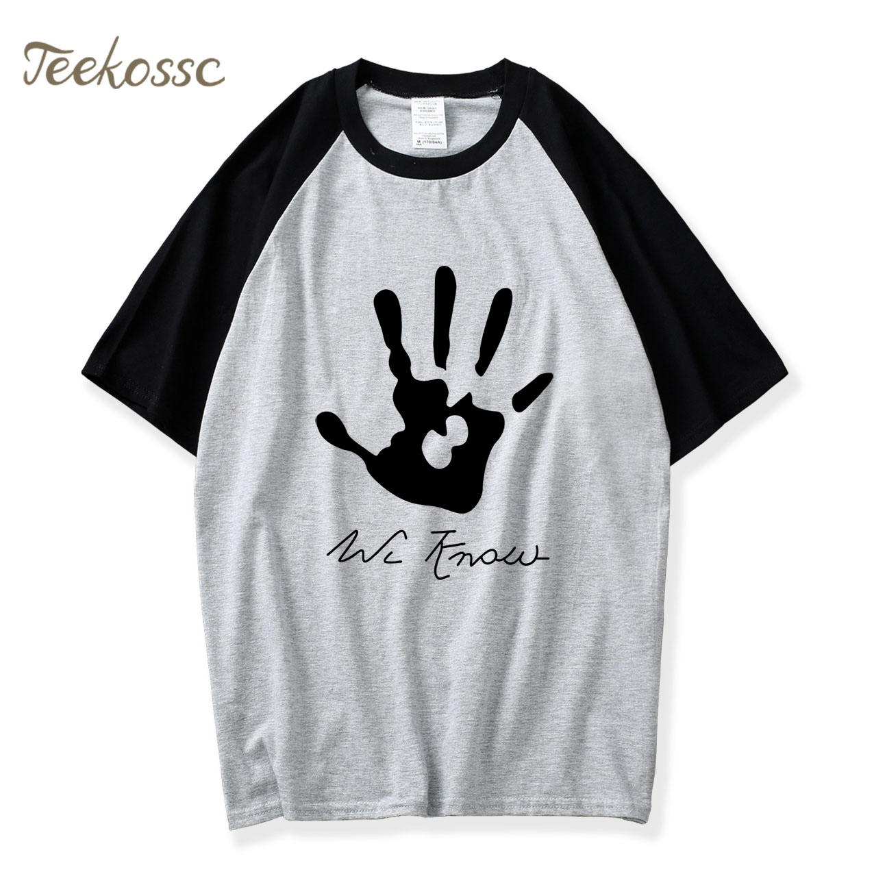 New Skyrim Dark Brotherhood We Know Hand T Shirt Men Masculinas Camisetas Hip Hop 2018 Summer Raglan 100% Cotton Men's T-Shirt