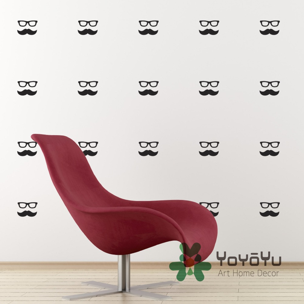 Set of 35 packs Moustache and Geek Glasses Wall Stickers Home Decoration Wall Decal For kids Room home decor muursticker WA 3 in Wall Stickers from Home Garden