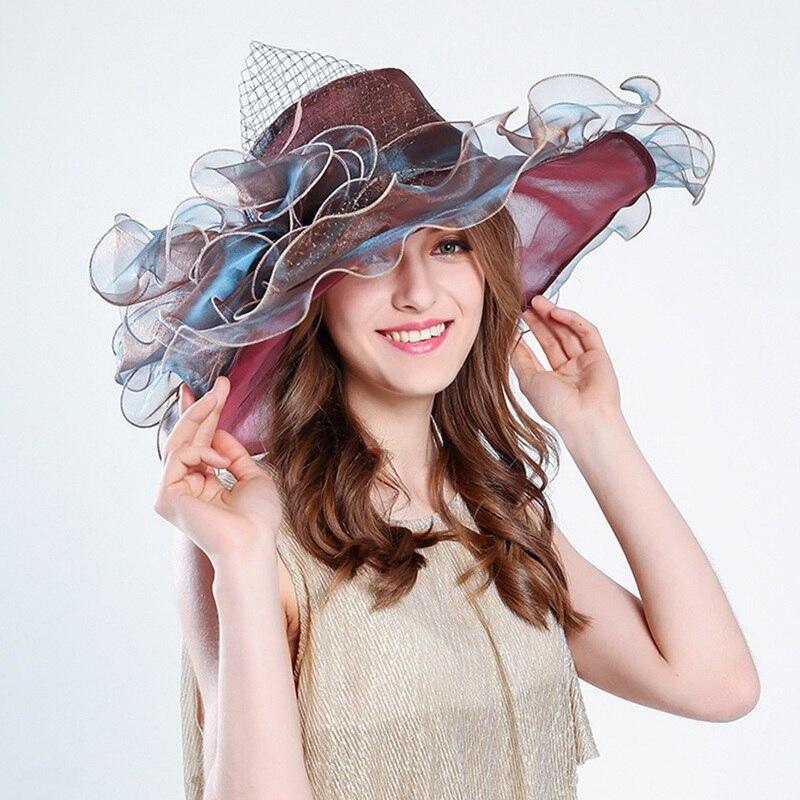 1 Pc Mode Sommer Organza Sonne Hüte Frauen Elegante Laides Breite Große Krempe Mit Große Blume Hut In Vielen Stilen