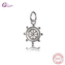 Fantasy Charms ship rudder Pendant & Necklaces Women Sterling-Silver-Jewelry Hot sale 925 sterling silver steering wheel Pendant(China)