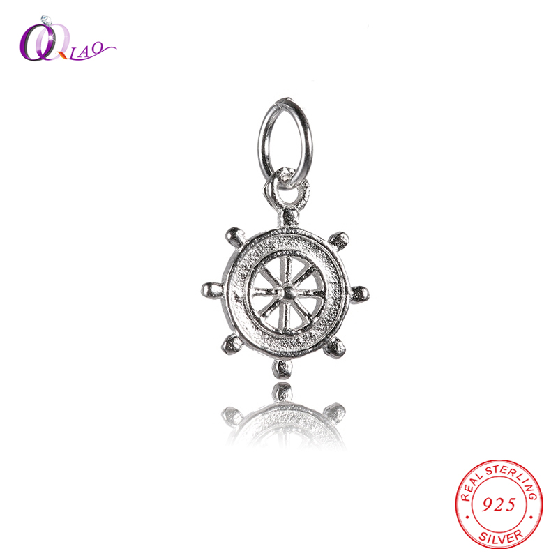 Fantasy Charms ship rudder Pendant & Necklaces Women Sterling-Silver-Jewelry Hot sale 925 sterling silver steering wheel Pendant