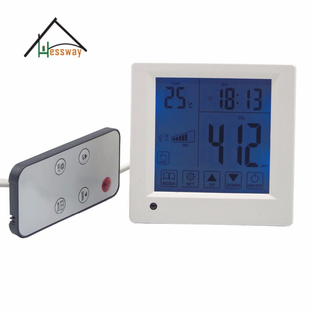 Remote control Indoor air quality co2 monitor/detector/controller ventilator speed output 0 2000ppm range wall mount indoor air quality temperature rh carbon dioxide co2 monitor digital meter sensor controller