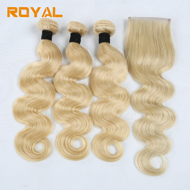 Pre-Colored #613 Blonde Peruvian Body Wave 3 Bundles with 4x4 Lace Closure 100% Human Hair Royal Non Remy Hair Extension