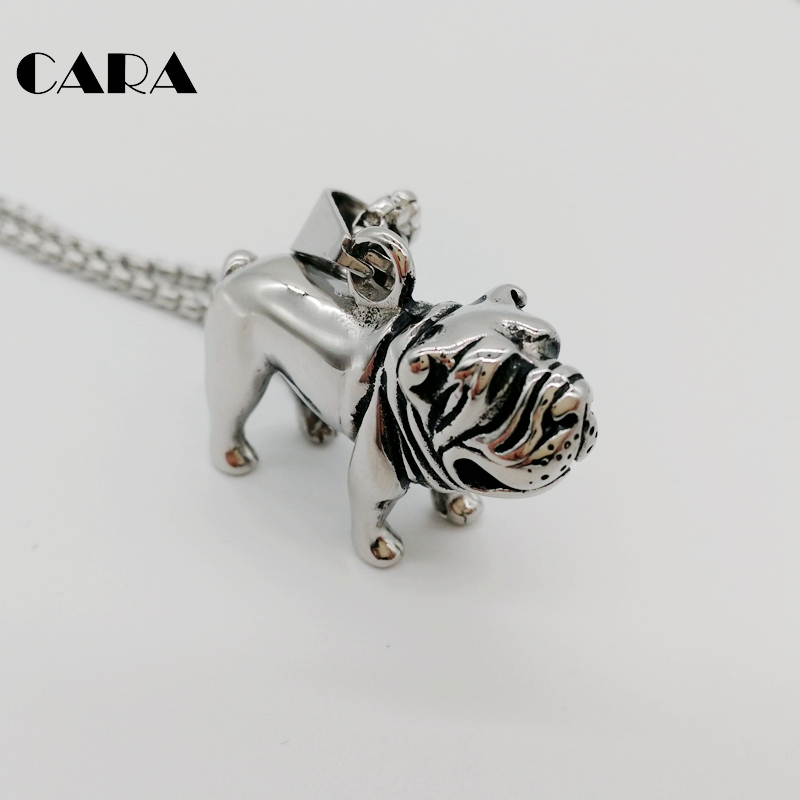 New 2 tone 316L stainless steel animal pet pendant necklace adorable Sharpei dog necklace jewelry for men women CARA0218 in Pendant Necklaces from Jewelry Accessories