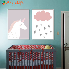 Cute Children Unicorn Decor Wall Art Canvas Painting Nordic Minimalist Poster Pictures For Baby Kids Room Decorative Pictur