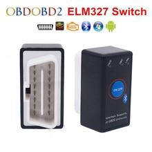 Супер Мини ELM327 Bluetooth ELM 327 переключатель питания V2.1 Кнопка ВКЛ/ВЫКЛ OBD2 автомобильный диагностический инструмент несколько языков для протоколов OBDII