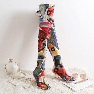 Image 5 - MORAZORA 2020 חדש מותג צבעים מגפי נשים גבוהה עקבים סקסי אירופאי מעל הברך מגפי סתיו חורף גבירותיי ירך גבוהה מגפיים