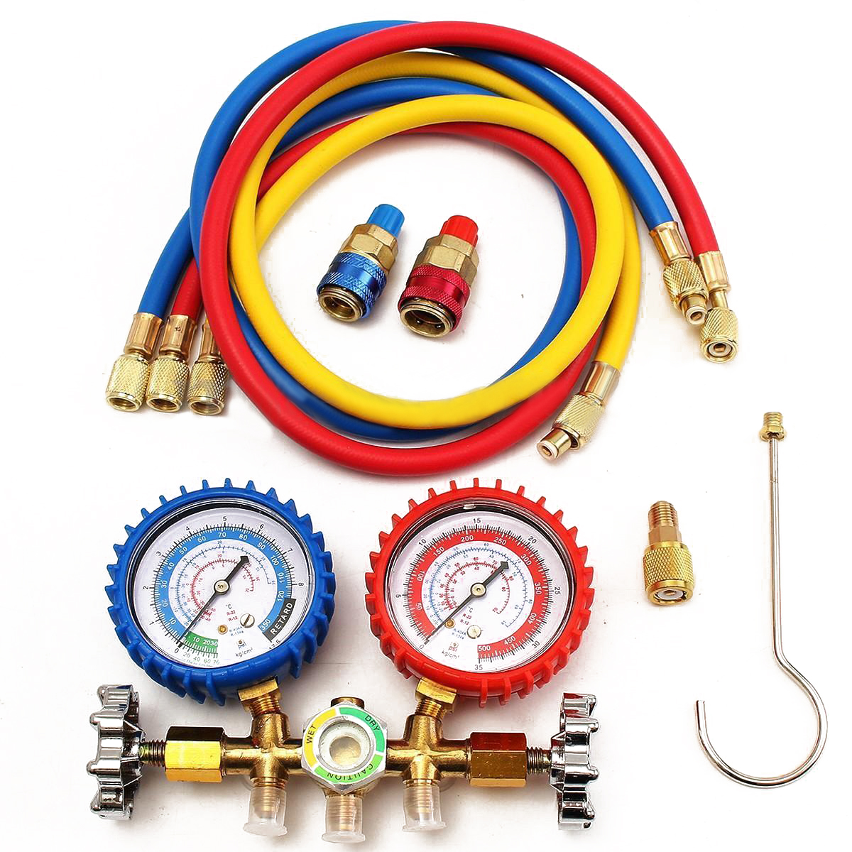 R134a Manifold Gauge 90cm for R12 R22 R502 HVAC A/C Refrigerant with Charging Hose Quick Couplers Straight Adapter Mayitr r134a r12 r22 r404a a c manifold gauge set with hose for household automobile a c air conditioning