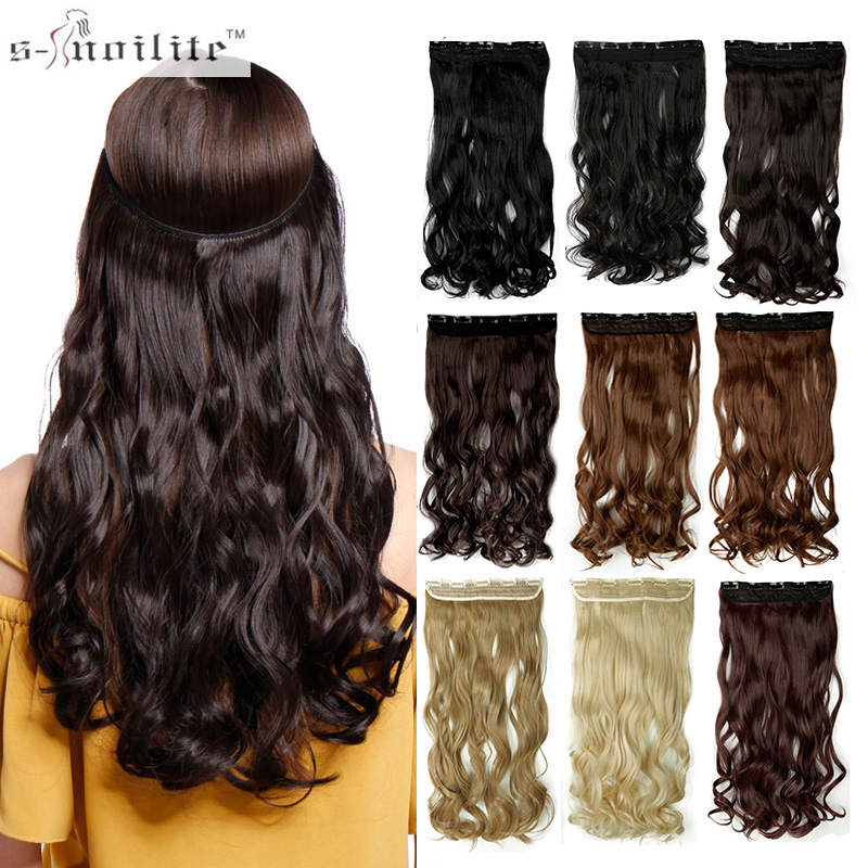 Snoilite 17/24/27/29 Long Clip Ins Hair Extensions Synthetic 100% Real Natural Hair Extentions 3/4 Full Head 1 Piece Wavy Hair Hair Extensions & Wigs