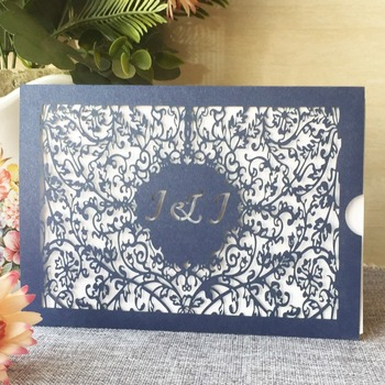 100pcs/lot Western Style Wedding Invitations Customizable Laser Cut Carved Invitations Card Hollow Out Flower Wedding Card