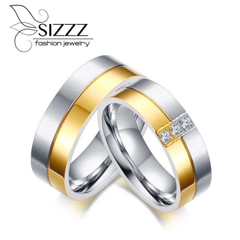 Sizzz простой Мода ювелирные изделия позолота Титан Сталь Свадебные Кольца для Для женщин Для мужчин любителей