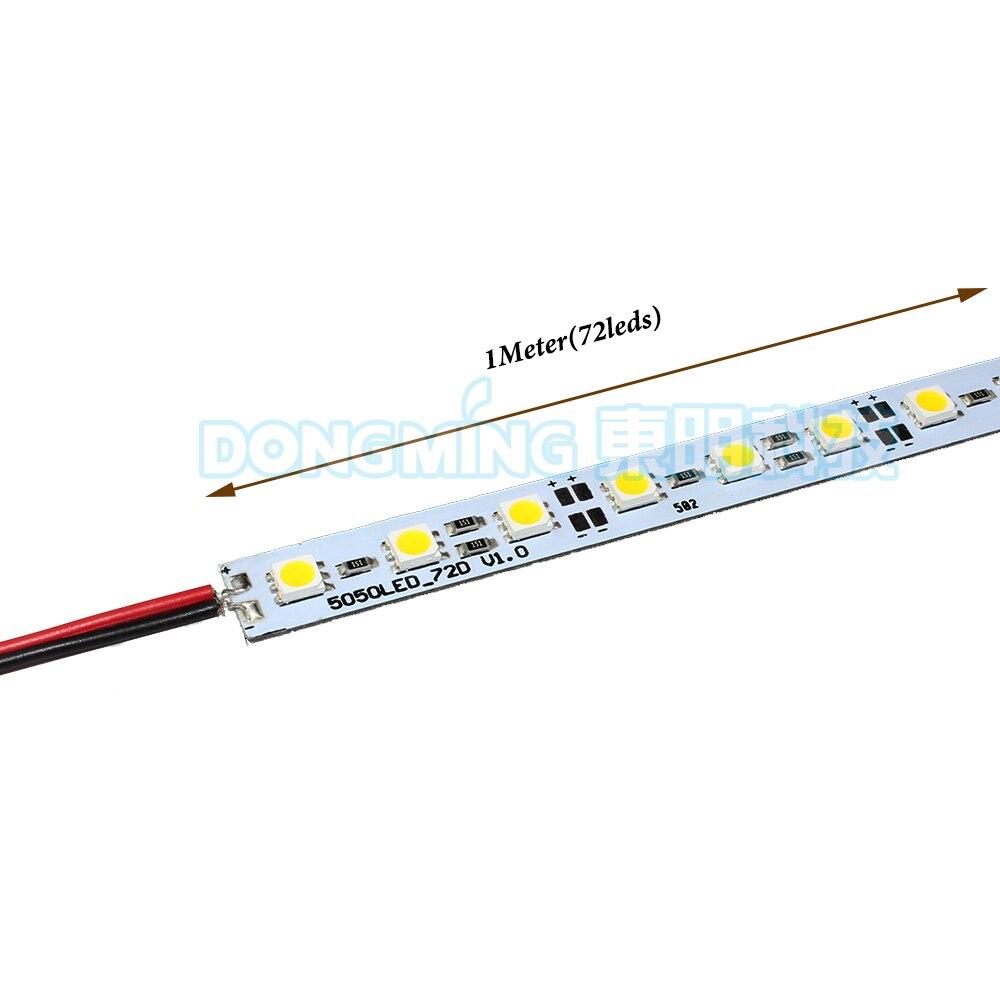 10pcs/lot 72leds 1m 100cm Led Bar Light 5050 SMD DC12V 10W LED Hard Strip Aluminum Alloy Shell LED Rigid Bar Light