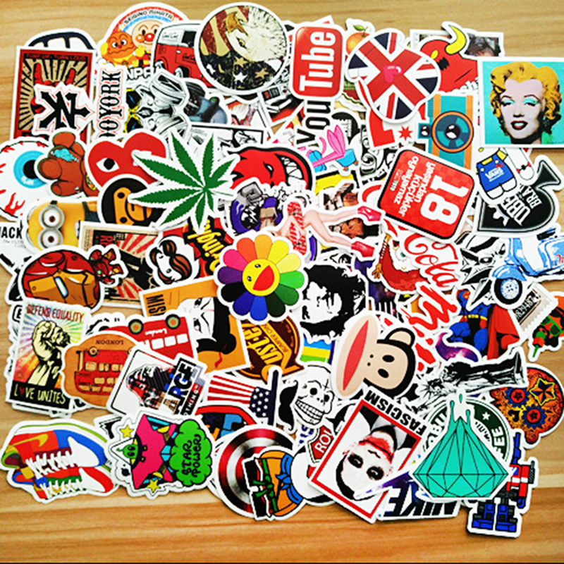 100pcs/ set Graffiti Sticker Car Styling Skateboard Fridge Vinyl Decals Luggage Home Decor Laptop Toy Kids DIY Cute Stickers glossy film vinyl sticker on car jdm graffiti car sticker bomb wrap stickers motorcycle accessories full car decals car styling