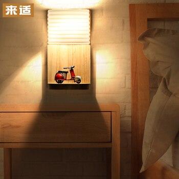 Led Japonés Sala De Estar Pared Pasillo Estudio Lámpara Luz En El Dormitorio Madera Estante De Madera Lámpara De Noche