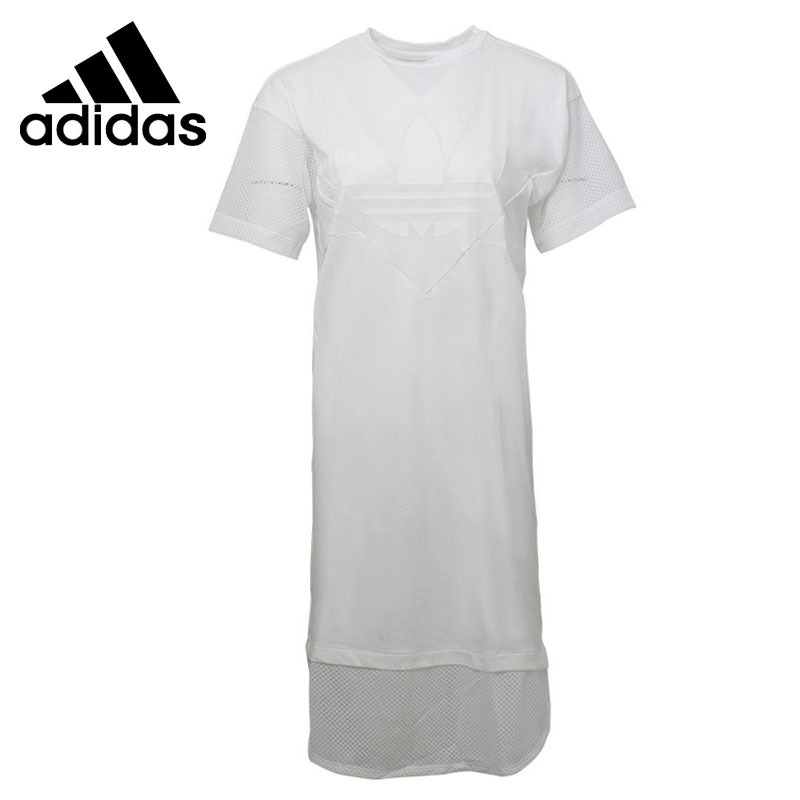 Original New Arrival 2018 Adidas Originals CLRDO TEE DRESS Women's Long T-shirts short sleeve Sportswear patchwork short sleeve henley tee