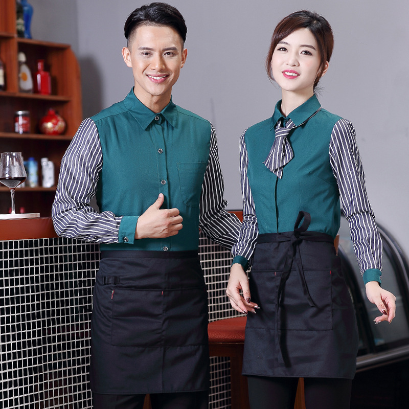 Waitress Work Clothes Jacket Long Sleeve Women Restaurant Fast Food Shop Uniform Shirt Hotel Waiter's Men Fashion Overalls H2314