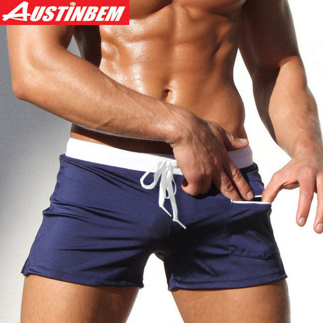 d3005ed1cc1d1 AUSTINBEM Swimwear Men Swimm Trunks Zipper Pocket Swimsuit Swimming Suit  for Men Beach Wear Shorts Boxer