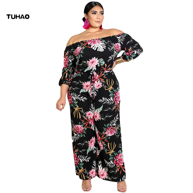 00559e98396 TUHAO Autumn PLUS SIZE 5XL 4XL Jumpsuits Fashion Women Bohemian Jumpsuit  Evening Party Floral Long Pants Jumpsuits Overalls DLM