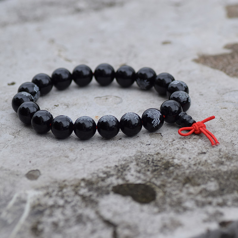 10-12 mm Smooth Black FO Bangle Lotus Rosary Beaded Tibet Buddhist Beads Mala Nudo chino Piety Budismo Pulsera