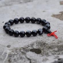 Bracelet de Lotus, chapelet perlé noir lisse de 10 12mm, perles de prière bouddhiste tibétaine, nœuds chinois Mala piete, bouddhisme