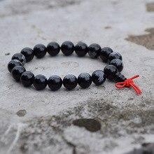 Brazalete negro liso de 10 12mm con cuentas de Rosario de loto, plegaria budista del Tíbet, Mala, pulsera de budismo
