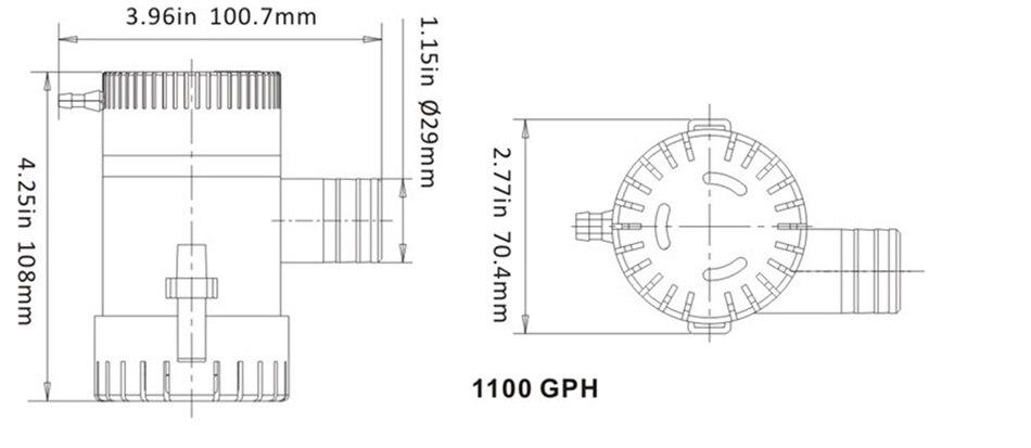 1100GPH DC Elektrische tauchpumpe für boot kajak, Booster ...
