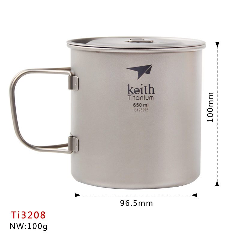 Keith Titanium Cup Outdoor Tableware Camping Water Mug Travelling Foldable Handle Cup Ti3208 keith ks813 double wall titanium water cup mug silver grey 220ml