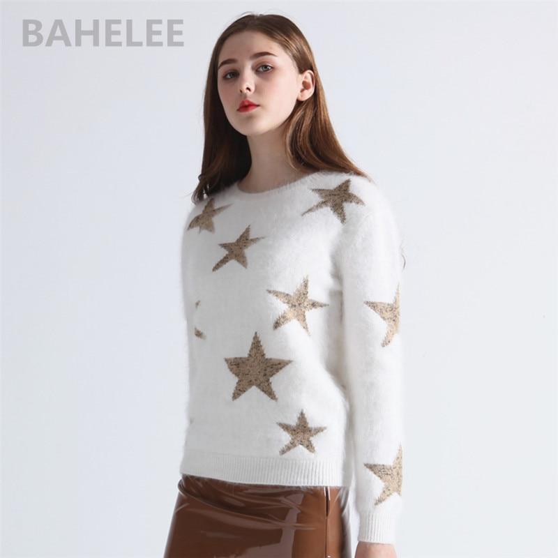 BAHTLEE Winter Women's Angora Rabbit Pullovers Sweater Intarsia Western Style Fashion Brand Keep Warm Stars Pattern White