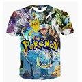 2016 Roupas de Marca Pokemon/Deadpool 3d Impresso O Pescoço T Shirt Dos Homens Novos Chegada de Moda Hip Hop dos homens Curta manga tshirt homme