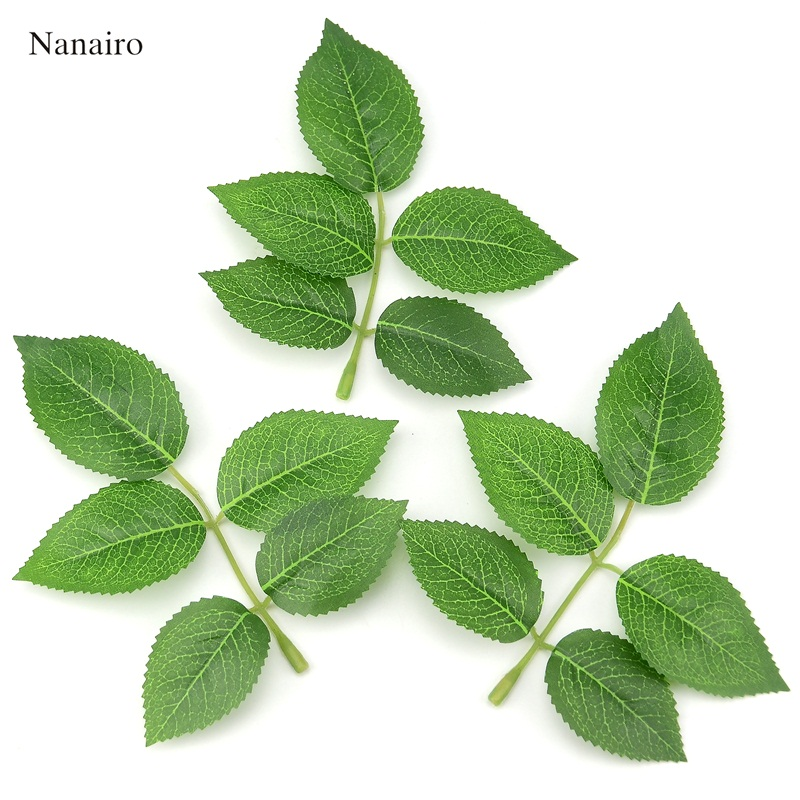 50pcs Cheap Silk Leaf Green Leaves Artificial Flower For Wedding Decoration DIY Wreath Gift Scrapbooking Craft Fake Flower