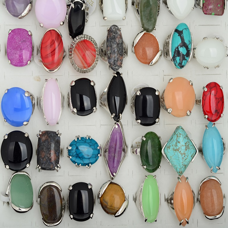 10Pcs Wholesale Elegant Big Natural Stone Rings For Women Girl Gifts Mix Lots Fashion Finger Rings Wedding Jewelry