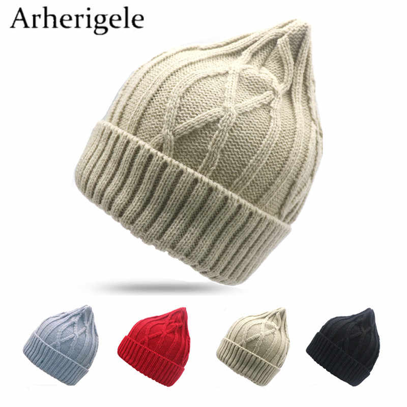 aab0bc21847 Arherigele 1pcs Fashion Women Knitting Hat Thick Warm Winter Hat Solid  Cotton Casual Caps Soft Female