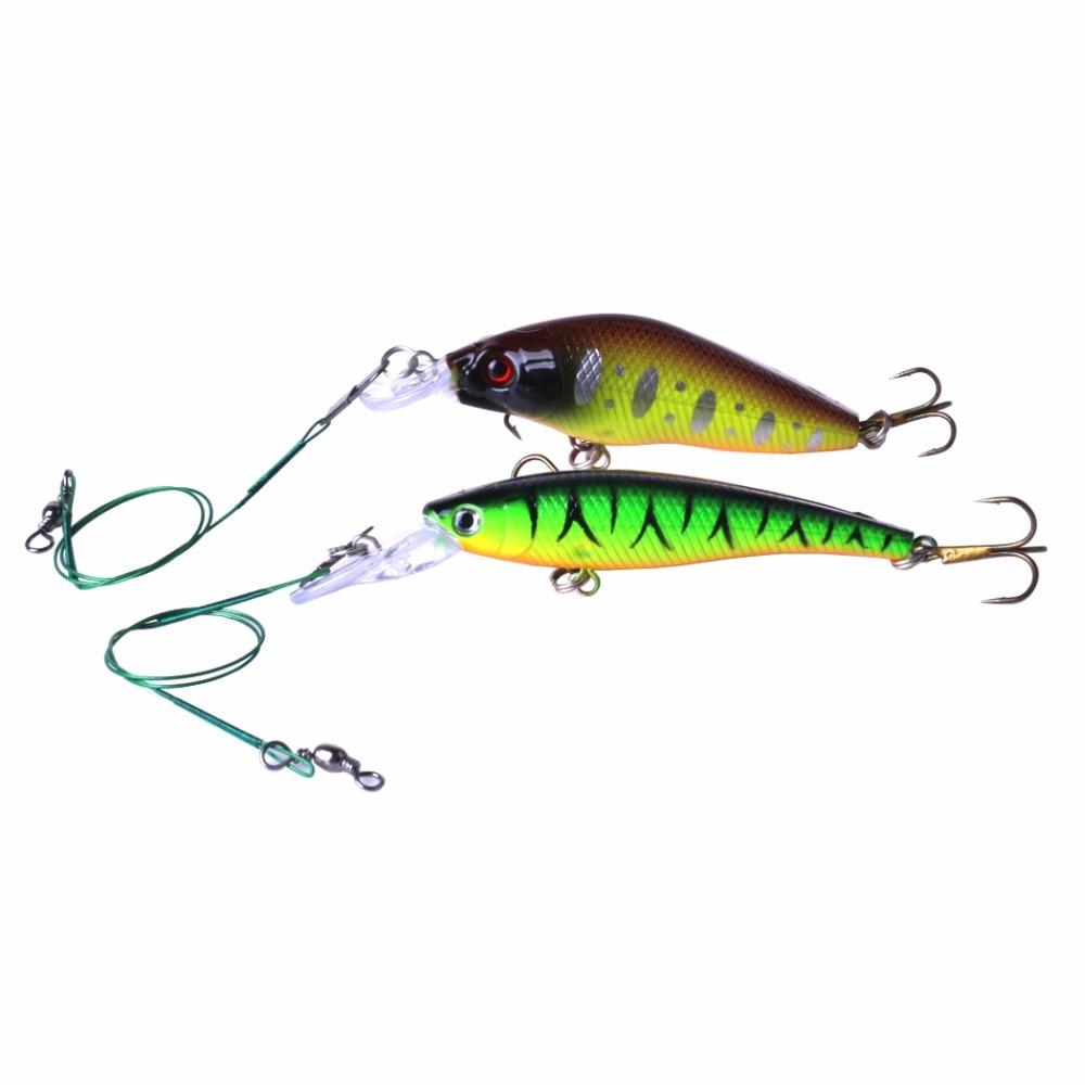 2Pcs Set Minnow Fishing Lure Isca Artificial Hard Bait VIB Crankbait Hook Pesca Wobblers Floating Deep Fishing Tackles