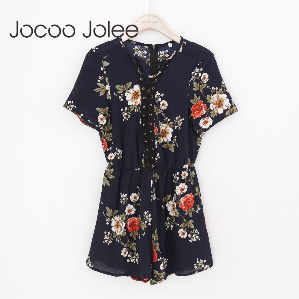 Jocoo Jolee Sexy Lace-up Floral Playsuits for Women Bohemian Style Women Summer Beach Wearings 2018 Loose Style Shorts New