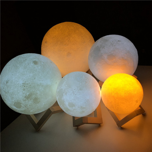 Luna Lámpara USB recargable 2 Colores táctil. Luz de noche. Decoración