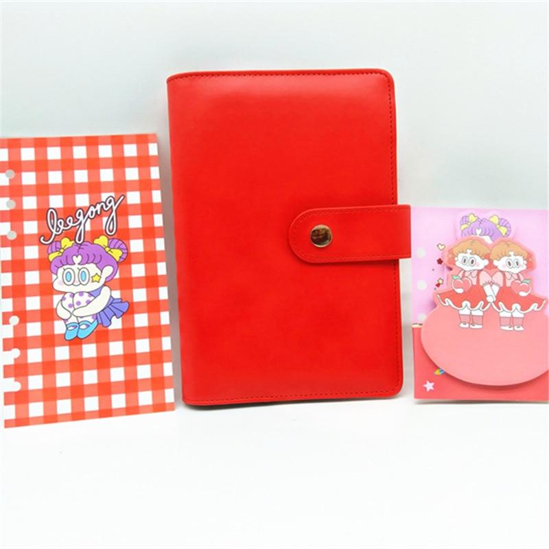 macaron harphia vermelho loose leaf notebook a5 a6 6 buraco planejador diario 04