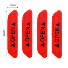 4 Pcs/Set Warning Mark Reflective Tape Universal Exterior Accessories Car Door Stickers OPEN Sign Safety Reflective Strips