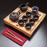New Arrival chinese Kung fu tea set purple sand tea sets with Bamboo four way tea tray whole set Water storage tray