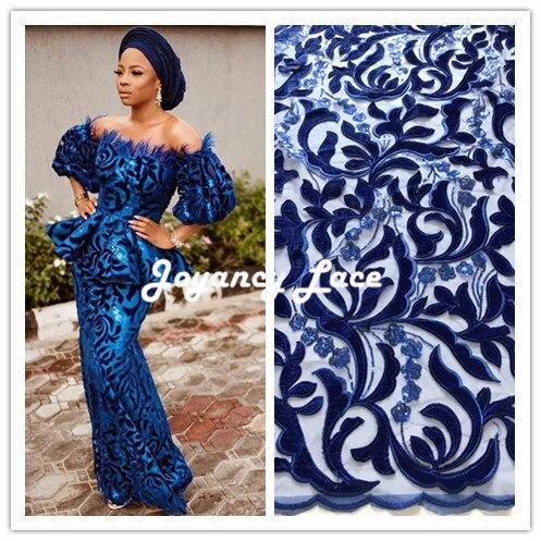 Dentelle française tissu 5yds/pce par dhl paillettes velours tissus pour femmes asoebi robes 2018 haute qualité design de luxe nigérian