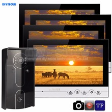 DIYSECUR 9inch Video Record/Photograph Video Door Phone Doorbell Waterproof HD RFID Camera Home Security Intercom System 1V4