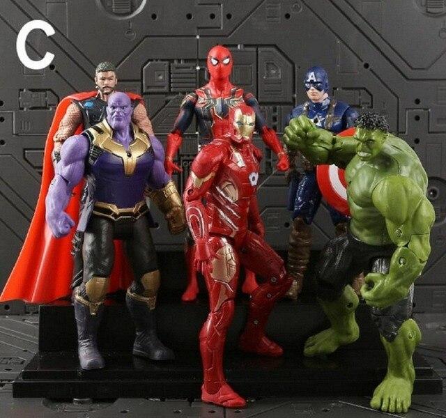 6 יח'\סט מארוול צעצועי נוקמי איור 18 cm גיבור באטמן Thor האלק קפטן אמריקה פעולה איור אסיפה דגם בובה
