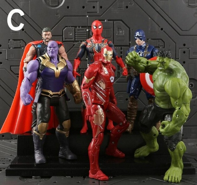 6 pçs/set Brinquedos Marvel The Avengers Figura 18 centímetros de Super-heróis Batman Capitão América Thor Hulk Action Figure Collectible Modelo Boneca