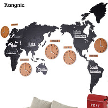 Rangnic Creative Wooden World wall Clocks 3D Map Decorative Design Home Decor Living room duvar saati Watch Wall reloj pared