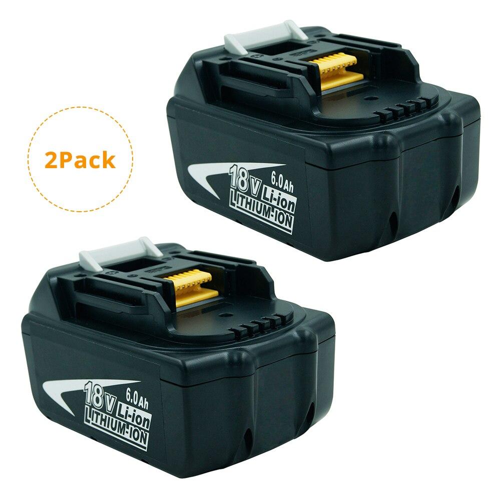 (Paquet de 2) BL1860 18 volts 6000 mAh LXT batterie Rechargeable Lithium Ion 6.0Ah pour Makita BL1860B BL1850B BL1840 BL1830