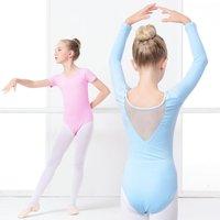 Summer Girls Leotard Bodysuit Children Cotton Spandex Ballet Clothing Short Sleeve Back V Mesh Neck Dance
