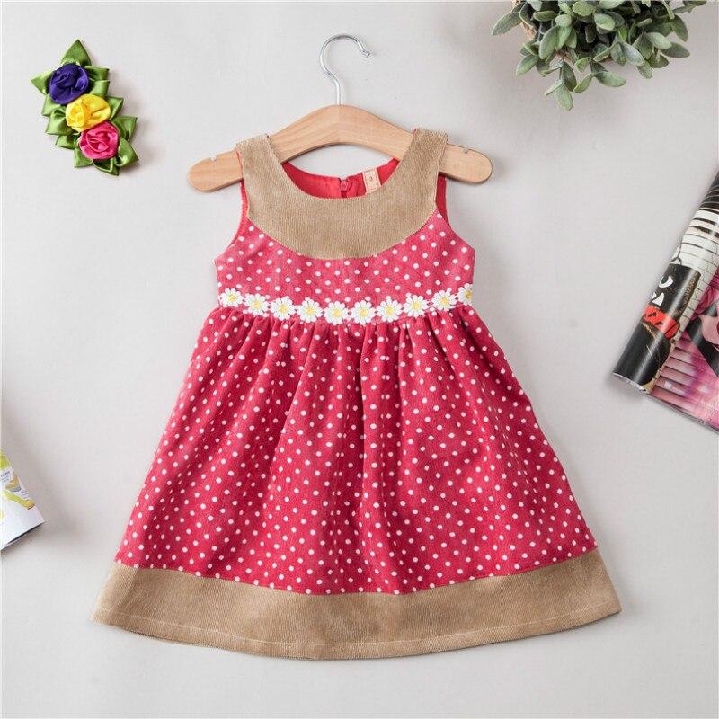 Flickor höstklänning 2017 ny koreanska söt sol blomma vågpunkt - Barnkläder