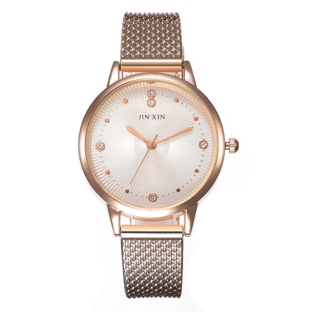 New Fashion Luxury Women's Crystal Watch Waterproof Rose Gold Wire Mesh Quartz Women's Watch Top Brand Clock