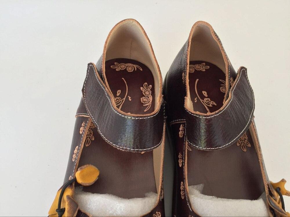 Las Retro Vaca Tallado Mano Niña Mori Arte folk De Mujeres Zapatos Deep Estilo Capa Careaymade Puro Cabeza A Hecho Piel 3a Coffee 0327 Sandalias wTx4OwPYWq