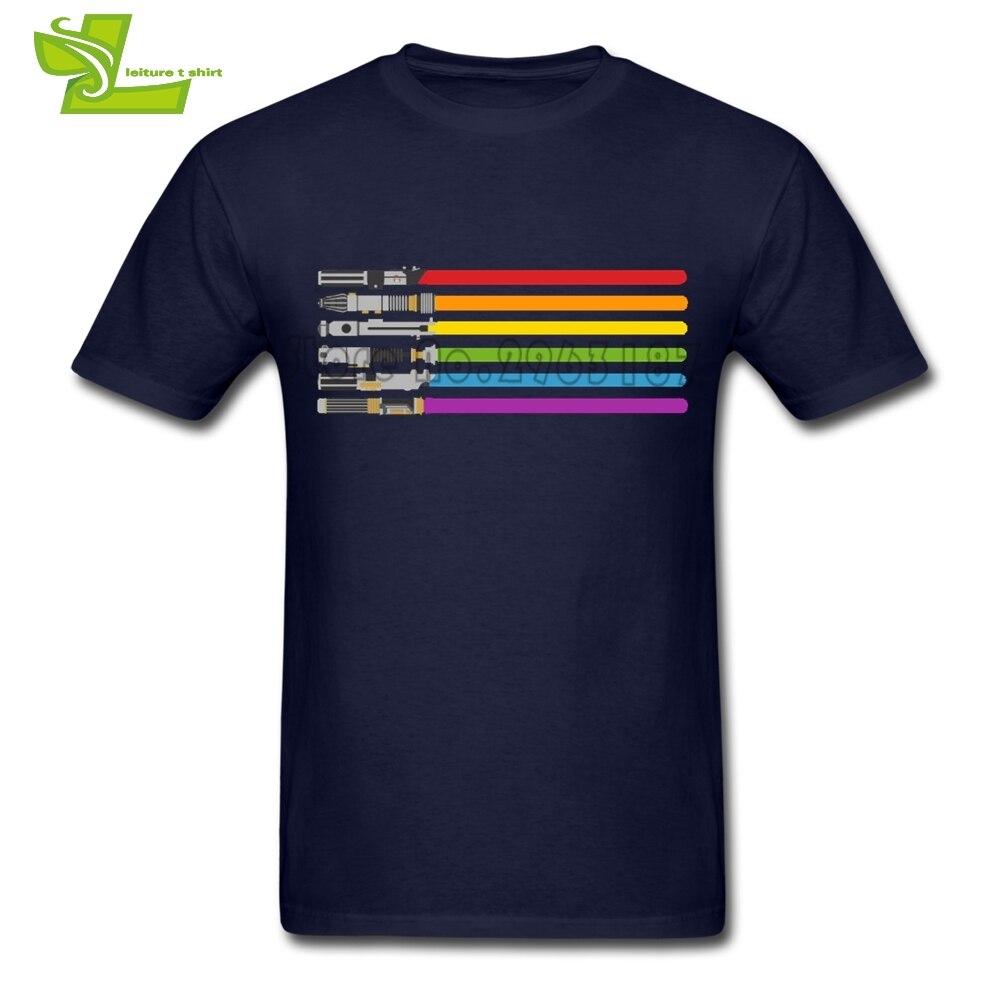Lightsaber Rainbow Star Wars Swords Adult T Shirt Casual Normal T-Shirt Men Short Sleeve 100% Cotton Tshirt Teenboys Clothes